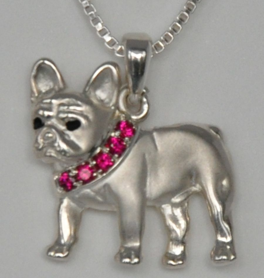 French Bulldog with Red Stone Collar FREN626