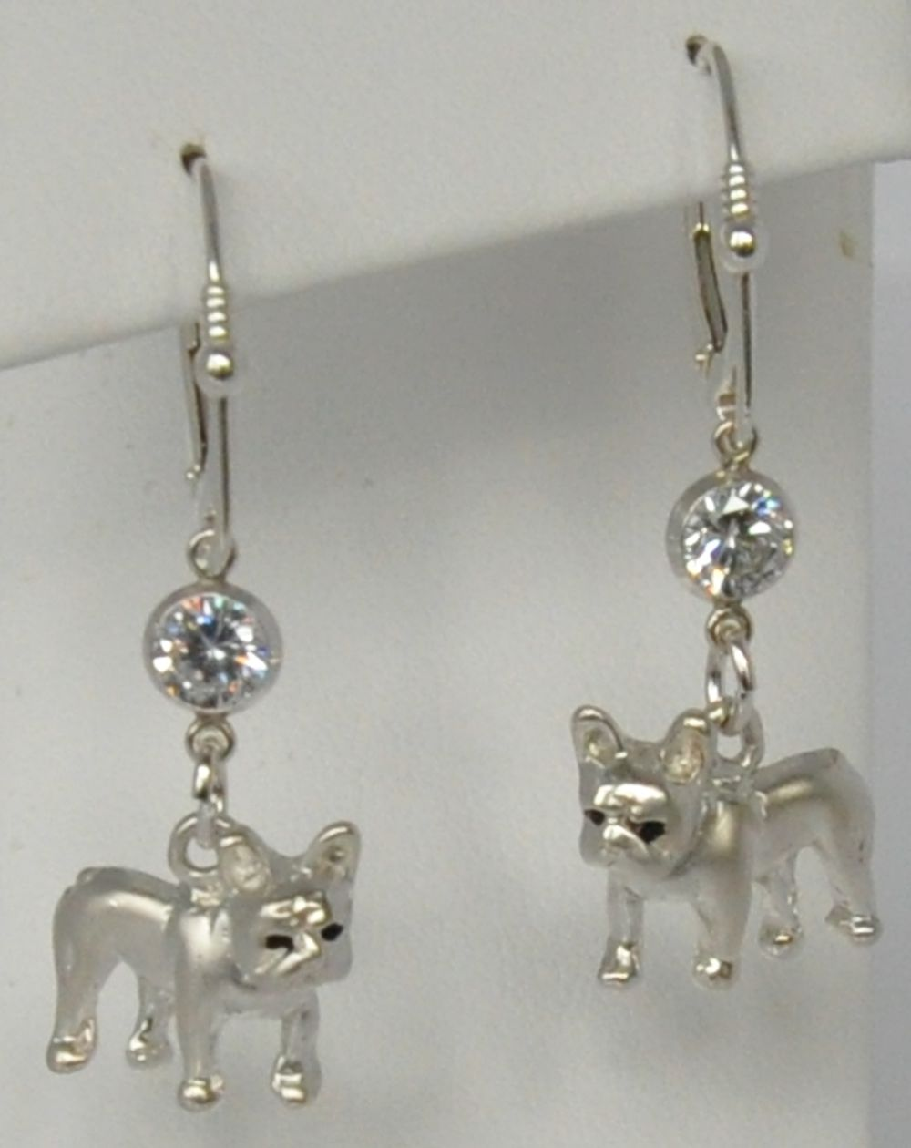 Sterling Silver French Bulldog Earrings with CZ FREN621