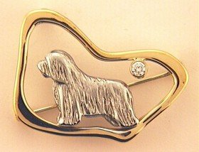 Bearded Collie Brooch - BCOL261