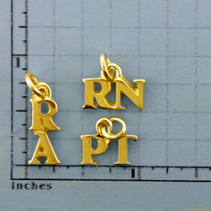 Medium Gold 2 Letter Title Pendant - TI607