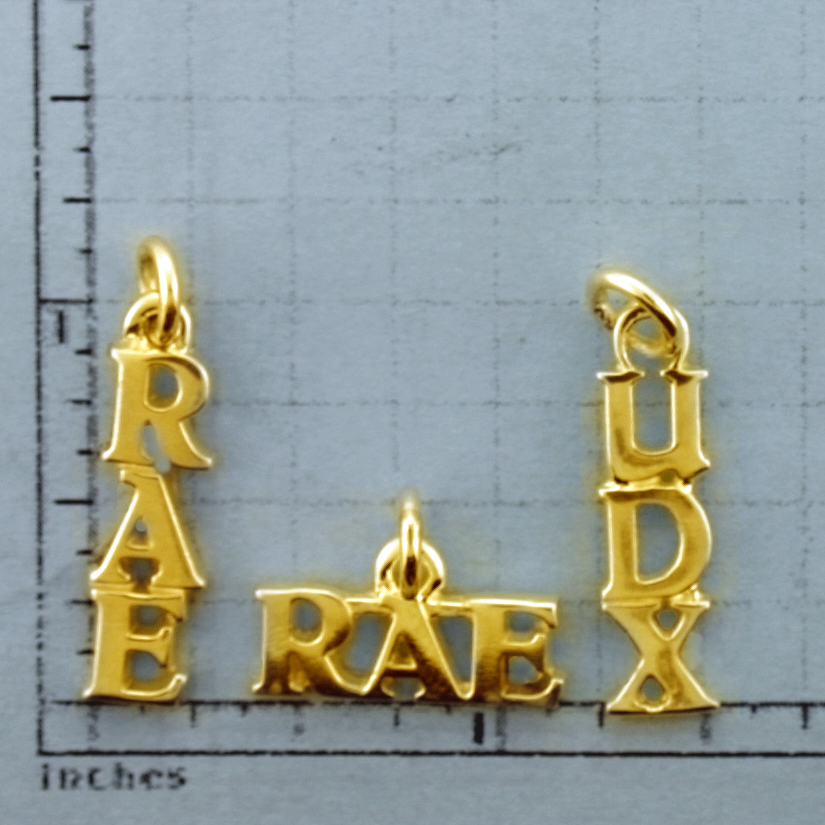 Medium Gold 3 Letter Title Pendent - TI611